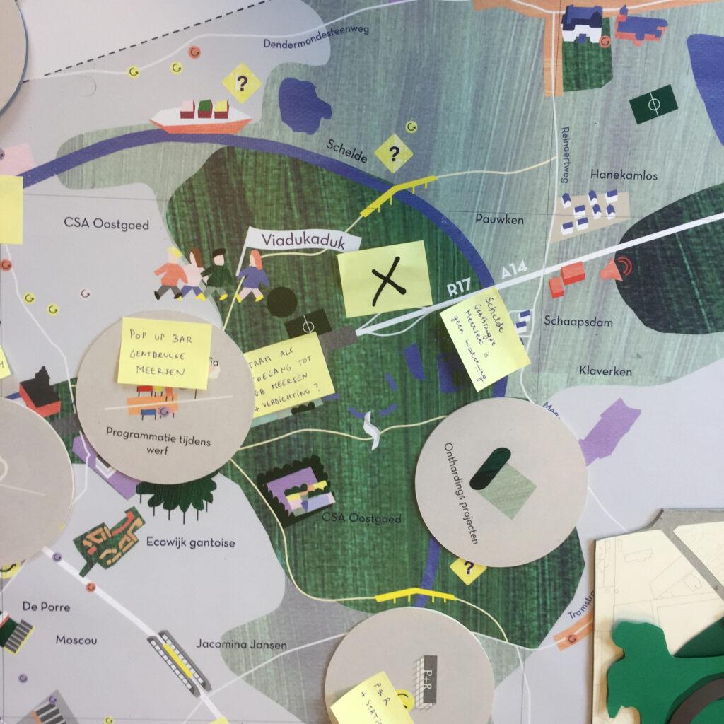 Zoom van de geïllustreerde kaart waarop de verschillende aspecten van de weergave zichtbaar zijn.